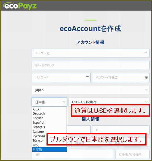 eco(ecopayz:エコペイズ)の登録手順